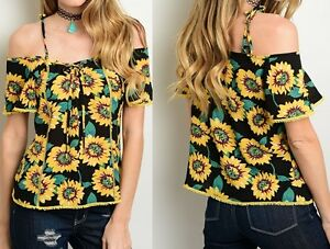 Black Sunflower Lace-Up Tie Cami Off Open Shoulder Short Sleeve ... 7501b059f