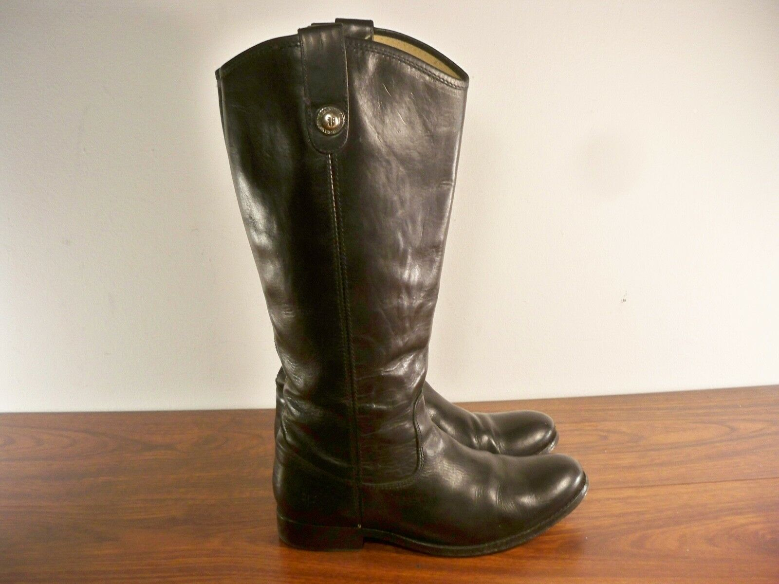 Frye  77167 Melissa Button Leather Women's Knee-High Riding Biker Boots Size 8 B