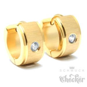 Goldene-Damen-Ohrringe-Edelstahl-18k-vergoldet-Klapp-Creolen-13mm-mit-Zirkonia