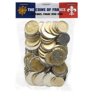 A-BAG-OF-100-FRANCE-FRENCH-COINS-FRANCS-CENTIMES-1959-2001-PRE-EURO