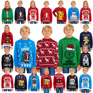 Kids Childrens Boys Girls Xmas Christmas Winter Jumper Sweater Knitted Retro New