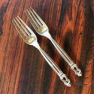Acorn-Konge-Georg-Jensen-Denmark-Sterling-Silver-2-Dinner-Forks-4-7-8-034-Handle