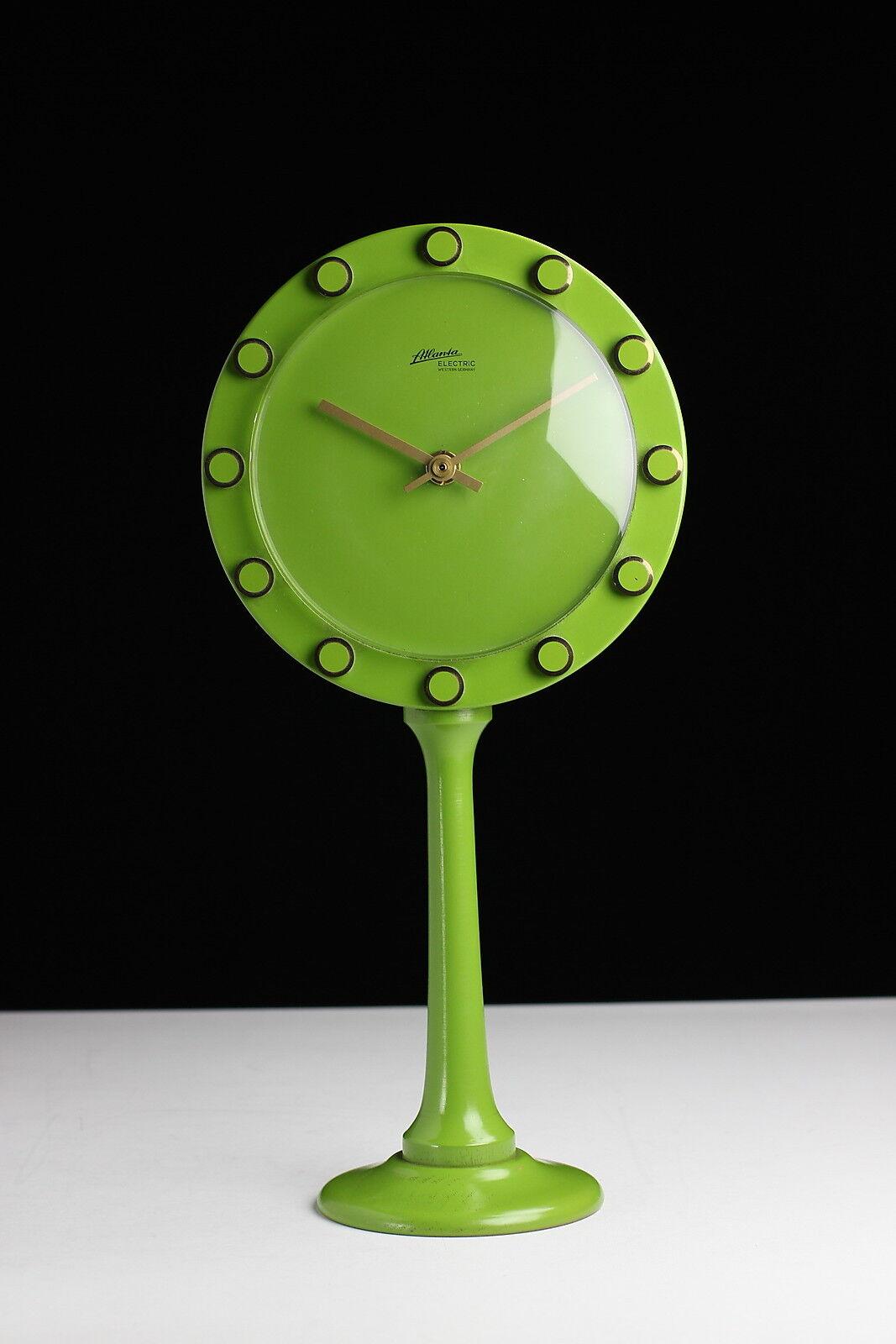 Atlanta Electric Tischuhr 70er Jahre Holz green Spiegel