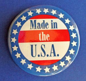 Hallmark-BUTTON-PIN-Patriotic-Vintage-MADE-IN-THE-USA-Stars-amp-Stripes-3-034-Pinback