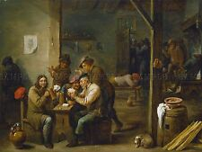 DAVID TENIERS YOUNGER FLEMISH TAVERN SCENE OLD ART PAINTING POSTER BB5181A