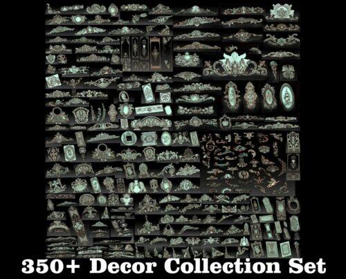 350 Pcs 3D STL Models Decor Set CNC Router Carving Machine Artcam aspire Cut3D