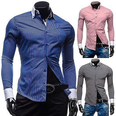 BOLF 0909 Langarm Herren Hemd Men Shirt Freizeit Hemd Slim Fit 2B2 Figurbetont