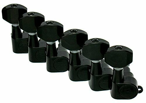Hipshot BLACK 6-In-Line Non-Staggered Closed-Gear Guitar Machines Tuners w// UMP