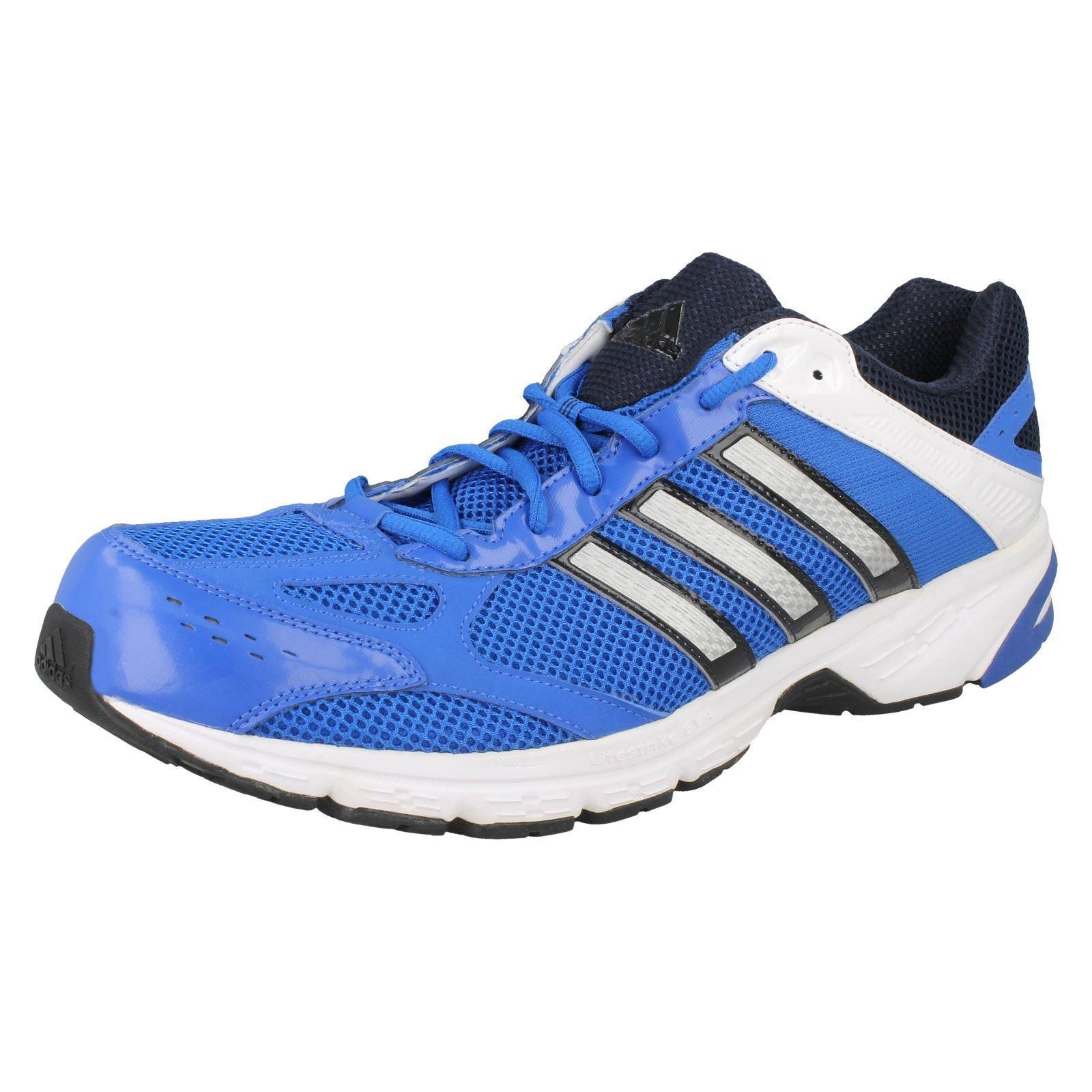 Adidas Hombre Azul Negro Plateado Cordones Zapatillas Duramo - UK 14.5Us 15