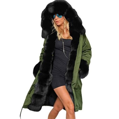 Lady Womens Winter Long Warm Thick Parka Faux Fur Jacket Hooded Coat Outwear