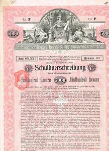 Investitions-Anlehen-Stadt-Wien-1902-5000-Kronen-ungelocht-Kupons-VF