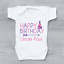Personalised Happy Birthday Uncle Party Hat Girls Baby Grow Bodysuit