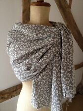 Vintage Style Scarf In Grey And Stone With Floral Motif. Linen/cotton/poly Blend