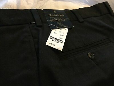 "NEW Brooks Brothers Hudson Advantage Chino Men's Pants Pleated Black 34"" x 34"" 