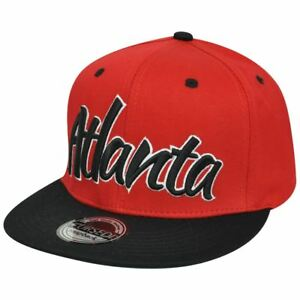 64fef8d2679 Atlanta City ATL Georgia Italic Script Flat Bill Snapback Red Black ...
