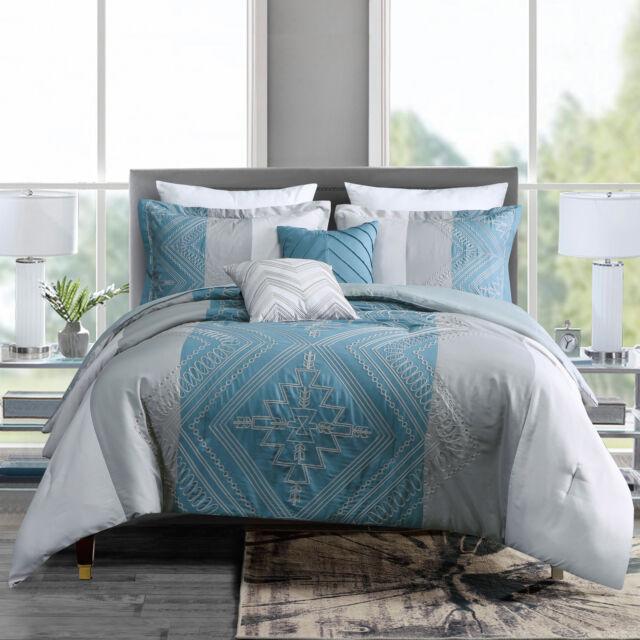 Gray //White Blue 10 Pc Reversible Comforter Set Embroidered Geometric Print