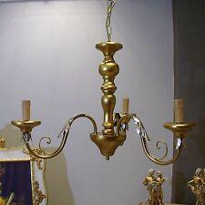 LAMPADARIO sospensione FIAMMINGO ferro battuto e legno 3L classico barocco oro