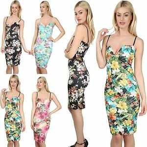 75aed2dce5 Womens Ladies Floral Print Strappy Cami Plunge V Neck Bralet Bodycon ...