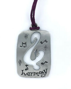 Pewter Music Treble Clef Christmas Tree Ornament in Gift Tin, Harmony and Notes