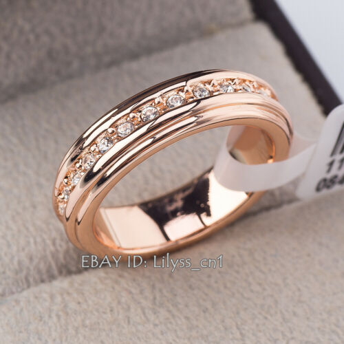 B1-R439 Women/'s Wedding Band plein éternité Bague 18KGP Strass Taille 5.5-10
