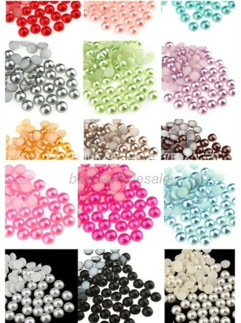 1000pcs New  Half-round Flatback Acrylic Pearl For Nail Art Phone Craft 5-8MM