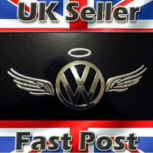 Details about 3D Dome Angel Wings Halo Car Sticker Decal Badge Silver  Chrome VW Polo UP Fox