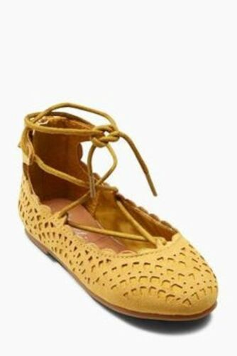 NEXT YELLOW GHILLIE LACE UP GLADIATOR SHOES BALLERINAS GIRLS INFANT UK5 7 9 NEW