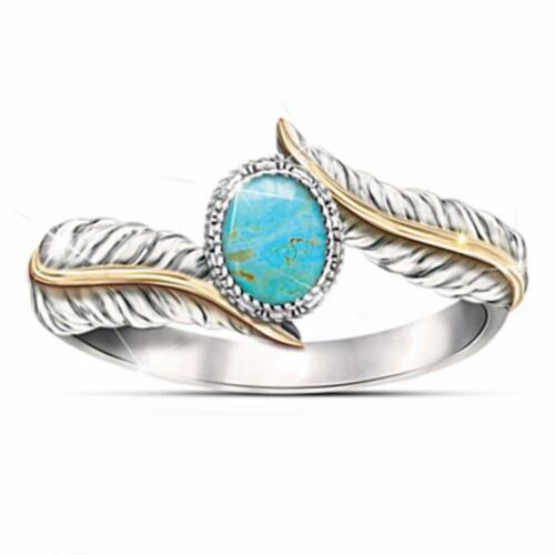 Turquoise Women Fashion Jewelry Silver Gemstone Wedding Ring Gifts Size 6-10