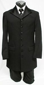 37 R Mens Black 7 Button Long Tuxedo Jacket Frock Tux Coat Victorian Steampunk
