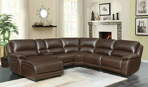 Fine Details About Big Comfy Brown Leather Double 2 Recliner Reclining Sofa Chaise Sectional Onthecornerstone Fun Painted Chair Ideas Images Onthecornerstoneorg