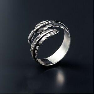 Feder-Silber-Ring-Damen-Verstellbar-Filigran-Feather-Silberring-Offen-Bandring