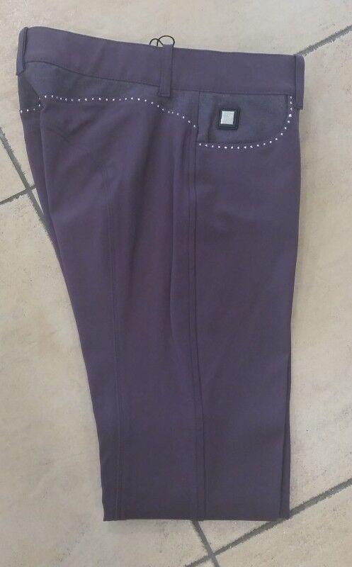 EQUILINE Pantaloni Montala STRASS Elena, Viola kniegrip stretch elasticizzato gamba completamento
