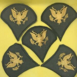 FIVE Vintage US Army Specialist 5 Rank Patches (5) - Green w/ GOLD Eagle