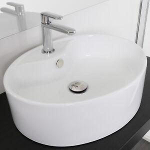 Lavabo appoggio ovale in ceramica 51x42 cm bianco lavandino lavello ...