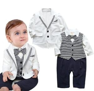 bce33adc2ed34 Image is loading Baby-Boy-Wedding-Christening-White-Tuxedo-Outfit-Suits-