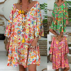 HOT Women Ladies Loose Floral Print Three Quarter Sleeve Mini Dress Summer Dress