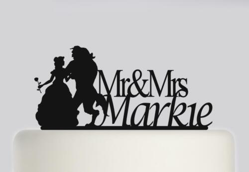 191 Beauty And The Beast Acrylic Wedding Cake Topper Mr and Mrs Cake Decoration