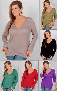 pick-color-t-shirt-top-blouse-cross-over-jersey-stretch-M-L-XL-1X-2X-ONE-SIZE