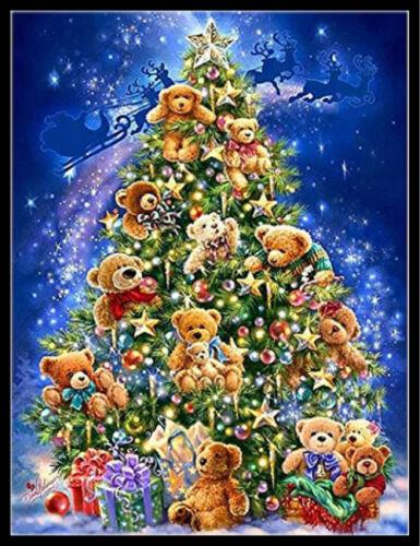 UK Christmas Bear Tree Full Drill 5D Diamond Painting Embroidery Cross Stitch HN