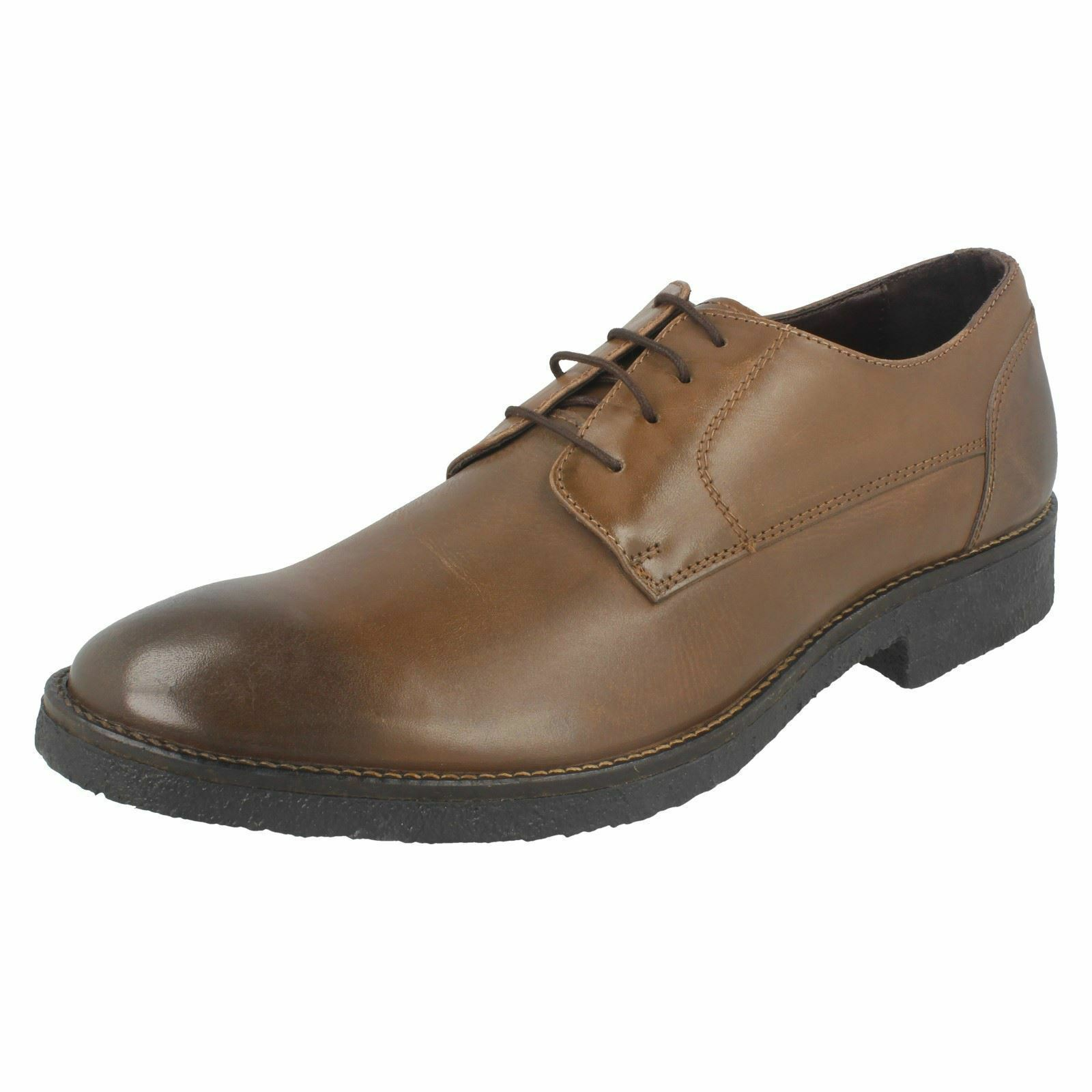 Mens M-81 Dark Brown Leather lace-up shoes BY Lambretta Sale