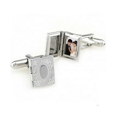 Stainless Steel Book Photo Locket Cufflinks Wedding Gift