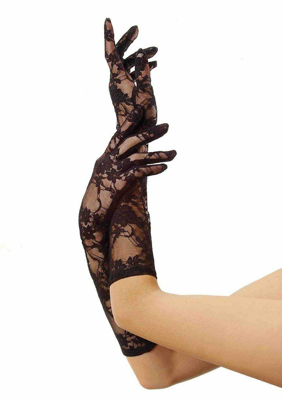 Ladies Black Lace Elbow Gloves suitable wedding party