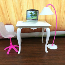 4PCS Barbie Doll Laptop Chair Desk Lamp Kit Home Furniture Girl Play House Decor