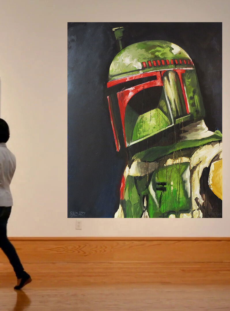 Original Street Art Painting Star Wars Boba Fett print canvas poster Andy Baker