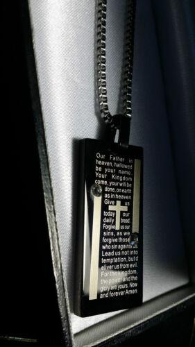 Caja De Regalo Personalizado Grabado Acero Negro Cruz Colgante Collar de oración Señores