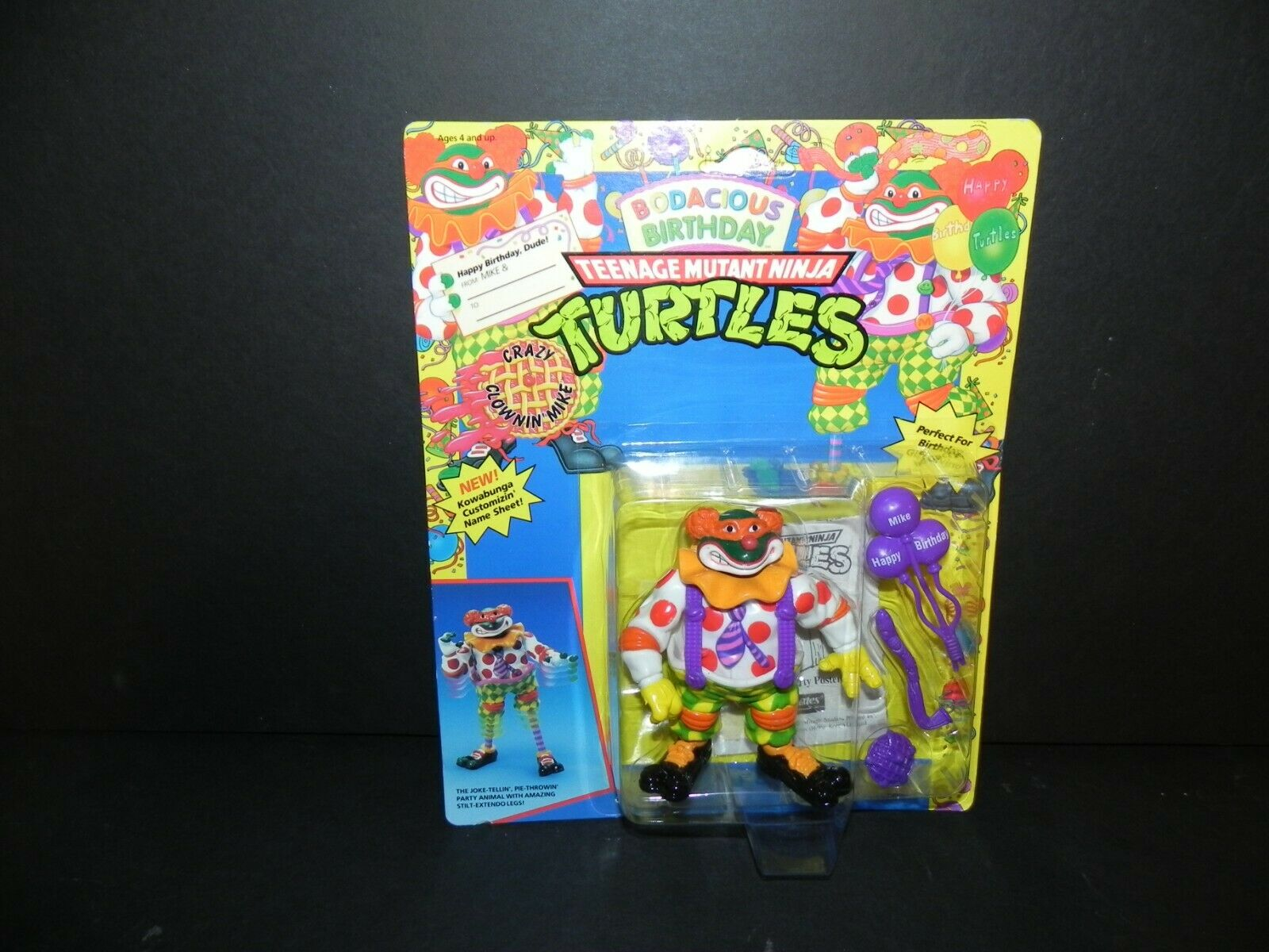 TEENAGE MUTANT NINJA TURTLE  BODACIOUS BIRTHDAY MIKE '92- NOC - Free Shipping