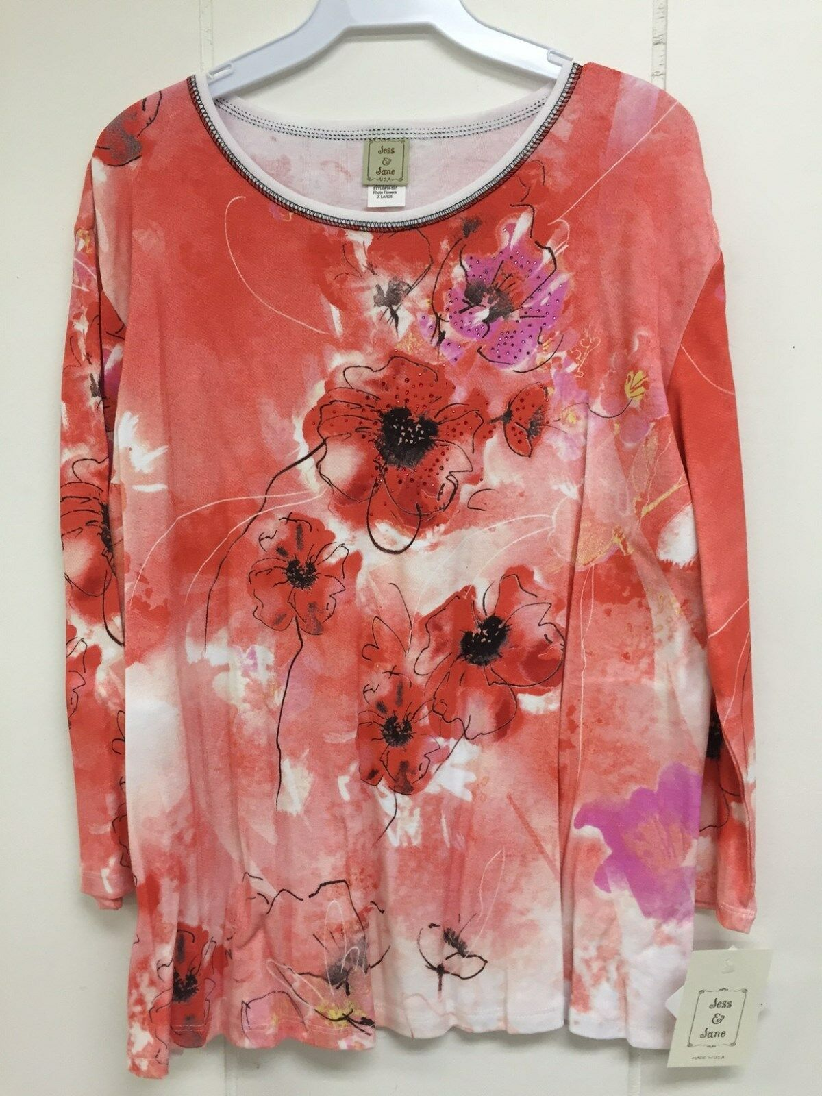 Jess and Jane Photo Flowers orange Floral Shirt Size Large L New with Tags