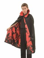 Deluxe Black & Red Cape W/bat Lining Vampire Child Halloween Costume Accessory