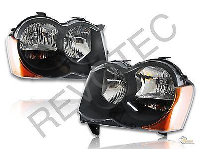 08 09 10 Jeep Grand Cherokee Black Housing Headlights Head Lamps RH /& LH