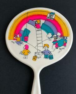 Vintage-Hand-Mirror-Child-Size-Make-Me-A-Rainbow-8-1-2-034-White-Collectible